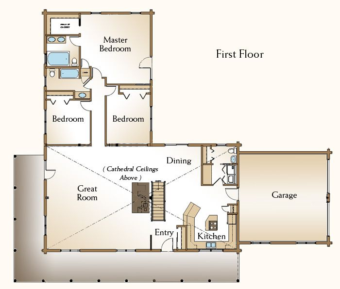 The cheyenne is a beautiful one story log home floor plan for Log cabin ranch floor plans