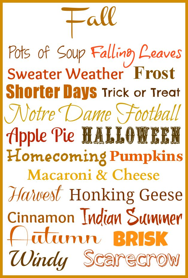 Fall ~ 20 Little Things I Love Free Printable Just have to change that to Oklahoma State Football !!!!!!!