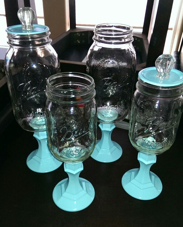 Working on putting together some candy dishes. Canning jars, decorative knobs, candle stick holders, & a bit of spray paint :-)