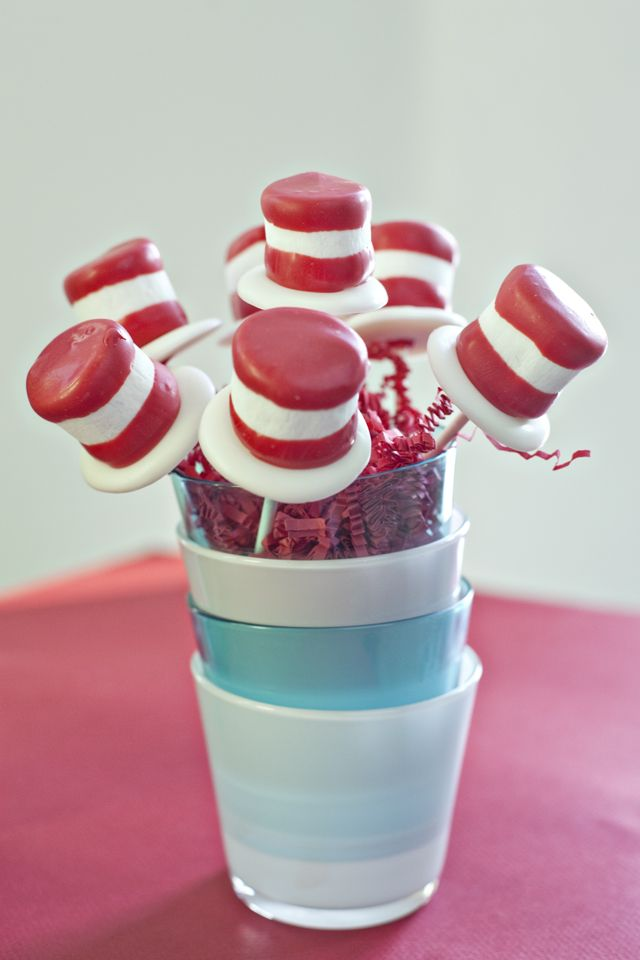 Cat in the Hat marshmallow hats, would be cute with a Dr. Seuss lesson at the day care. :)