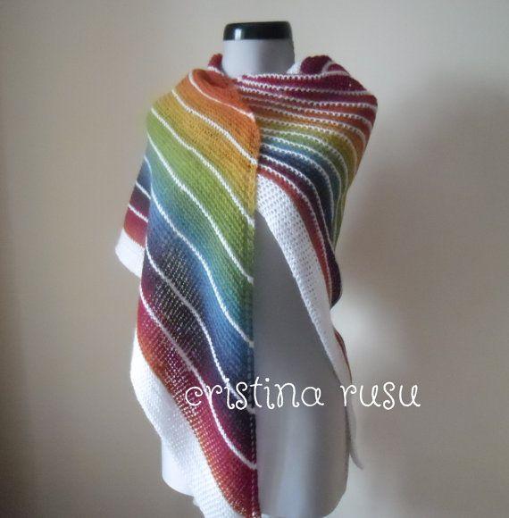Rainbow knit shawl  knit women's shawl by CrisColourCrochet