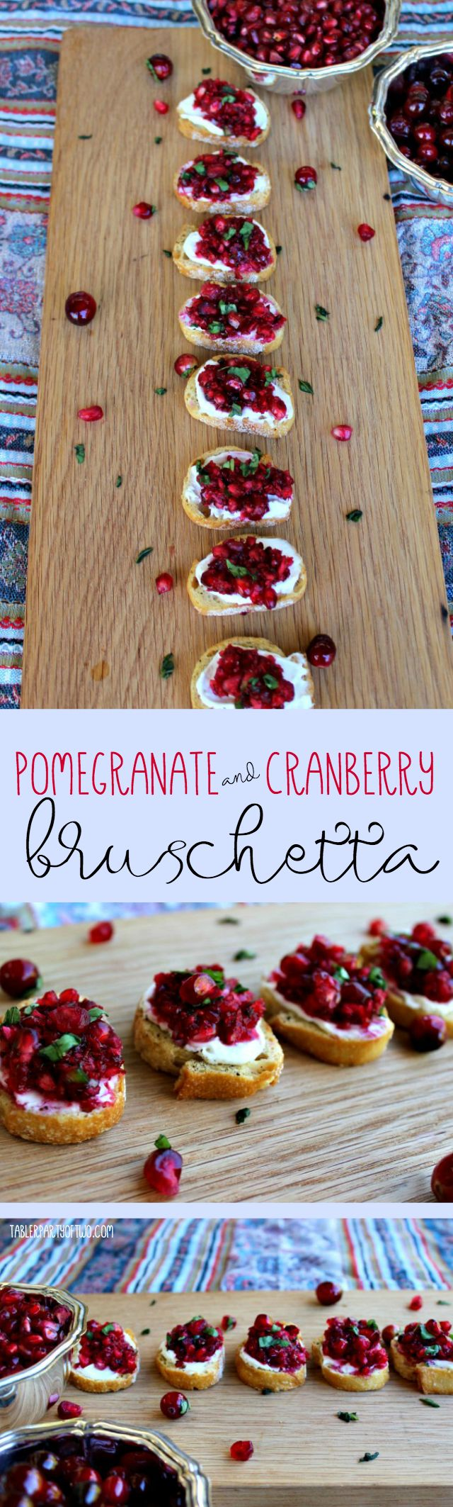 Pomegranate and Cranberry Bruschetta... so pretty, so delish! Perfect for your Thanksgiving and holiday gatherings!  party food, appetizers