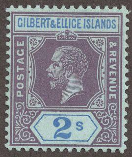 "Gilbert & Ellice Islands  1912-24 Scott 23 2sh violet & ultramarine/blue ""George V"" Wmk 3, Die I"