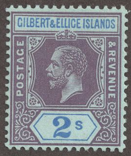 """1912-24 Scott 23 2sh violet & ultramarine/blue """"George V"""" Wmk 3, Die I In 1912, the familiar """"George V"""" designs were produced with twelve denominations, all watermarked  """"Multiple Crown and C A""""-wmk 3, and Die I. Eight stamps range in CV from <$1-$2+."""