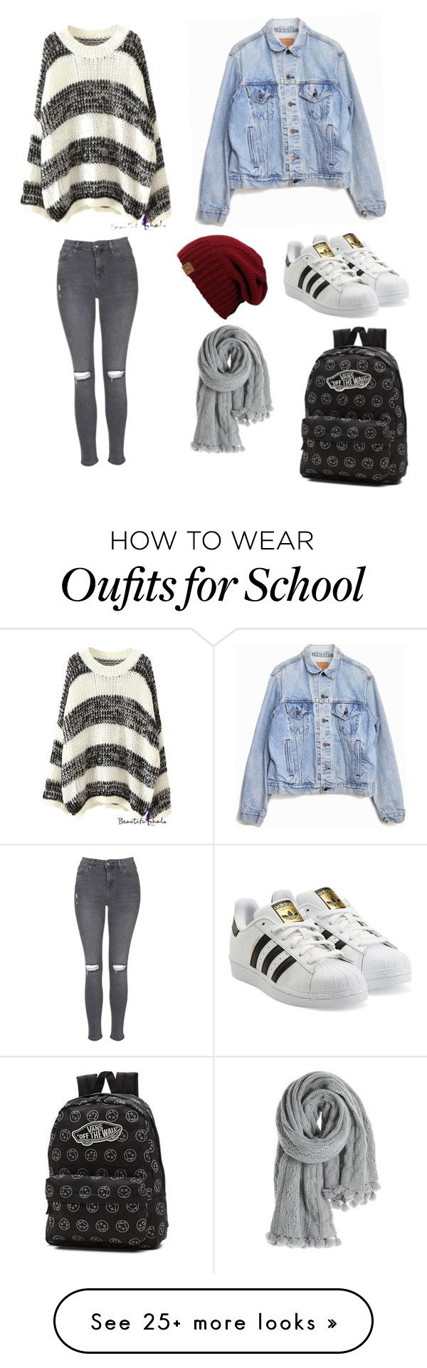 School style by hyukbingfzb on Polyvore featuring Levis, Topshop, adidas Originals, Vans and Calypso St. Barth