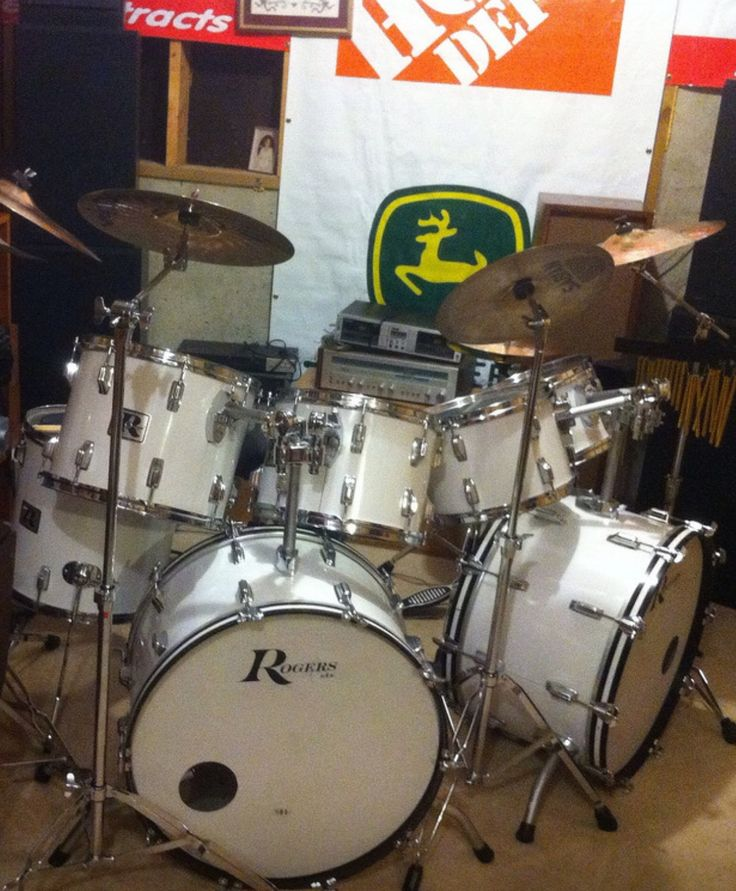 Vintage 1970s Rogers Big R Drum Set In New England White