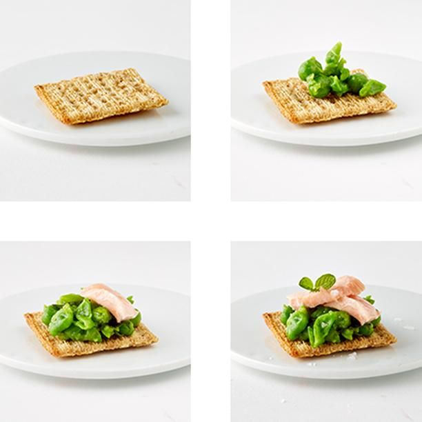 Salmon and Minted Pea Triscuit just like your momma makes. If your momma is @marthastewart. #TriscuitSnackoff