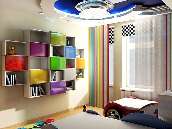 nice shelves in kid's room
