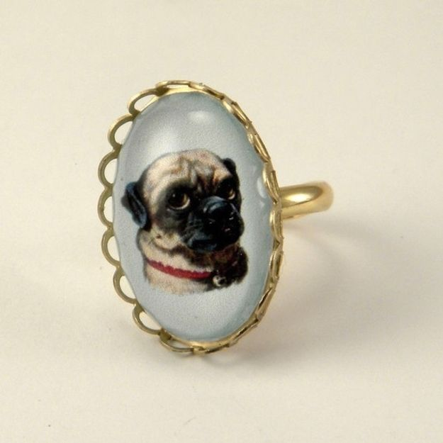 This fancy little pug ring | 40 Adorable Gifts For Animal Lovers