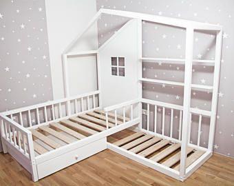 Montessori L-förmiges Doppelbett mit Lesesofa / Bett und zwei Schubladen