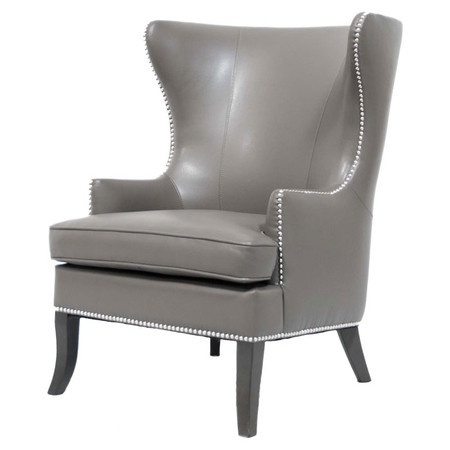 Merveilleux Hollywood Wing Club Chair In Gray Leather