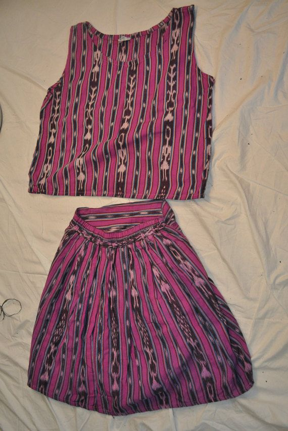Purple skirt and crop top set with ikat design from by ShirasSalon