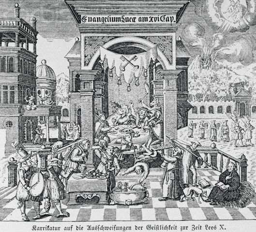 Original caption: Caricature on the luxurious and immoral life of the Clergy at the time of Pope Leo X. Contemporary, woodcut