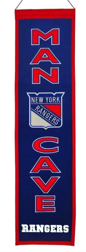 $40.50 - NHL New York Rangers Man Cave Banner - Your favorite space deserves a little bit of your favorite NHL team, and this New York Rangers banner is just the ticket. Featuring team logo, helmet and Man Cave applique and embroidery. Hanging cord 32 x 8 Wool blend felt Imported Size: One Size. Color: Multicolor. Gender: Male.