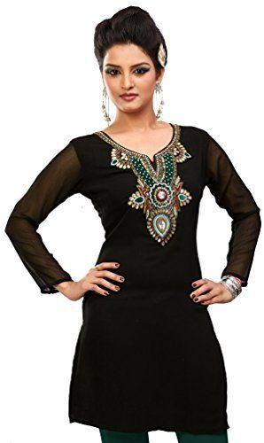 Indiano Camicetta Donna India Abbigliamento (Nero, XXL)