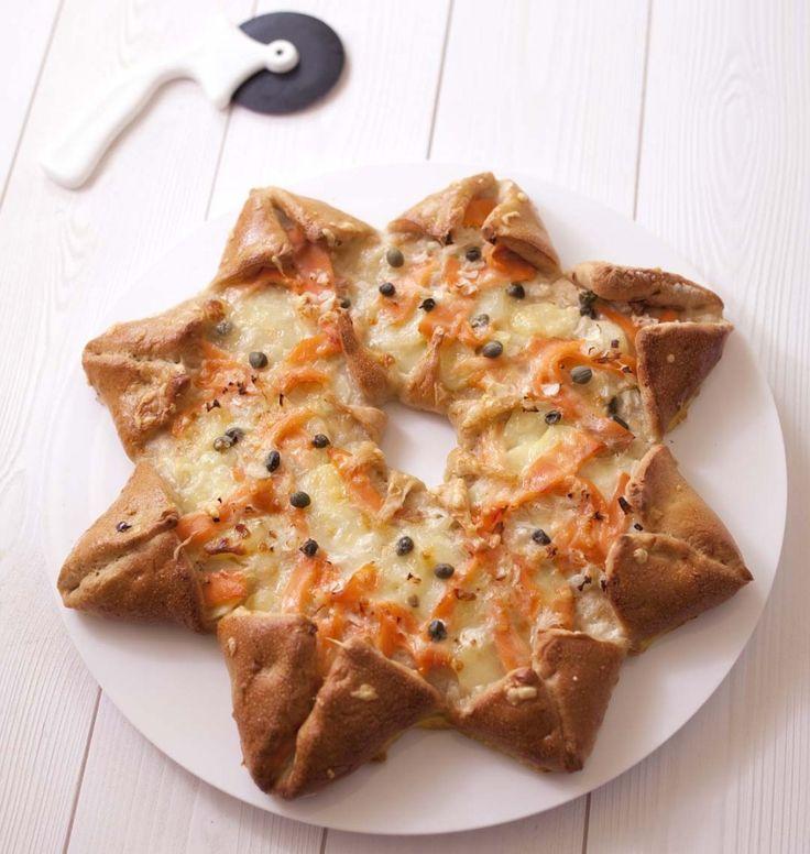 Pizza étoile des neiges au saumon fumé et pommes de terre - Ôdélices : Recettes de cuisine faciles et originales !