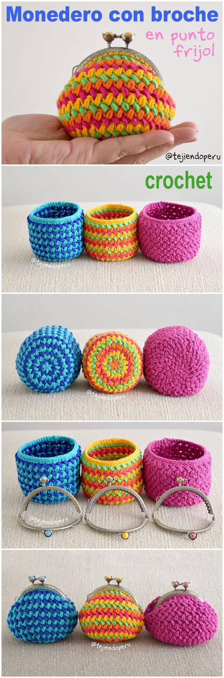 Crochet: Monederos con broche tejidosten punto frijol o bean stitch en forma circular paso a paso en video! ✿ƬⱤღ https://www.pinterest.com/teretegui/