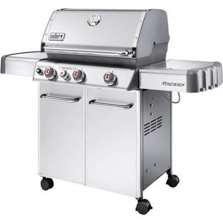 Weber Genesis S330 38,000 BTU 3 Burner LP Gas Grill with Side Burner, Stainless Steel, Silver