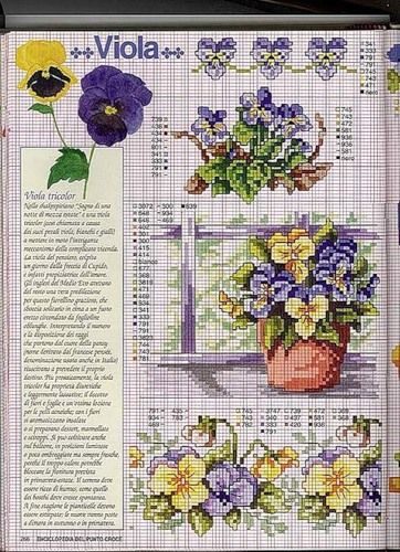 Violets in pot cross stitch pattern and color chart.