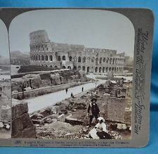 c1903 Italian Stereoview Photo Rome Colosseum 'Monument To Heathen Brutality'