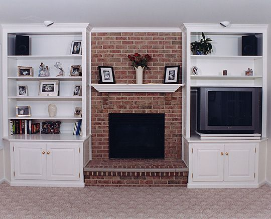 build bookcases around brick fireplace - Google Search