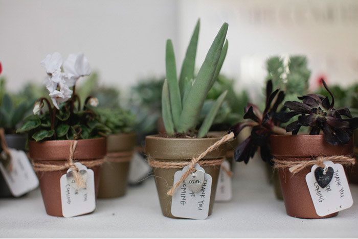 Copper painted terracotta planters + succulents as favors. #LuisaBrimble