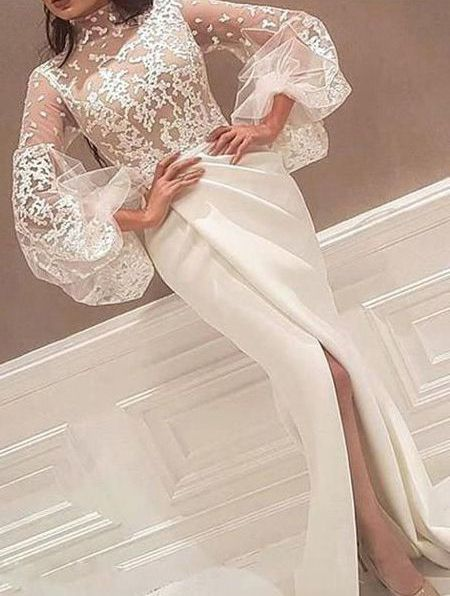 Sheath High Neck Prom Dresses,Long Sleeve Lace Appliques Ivory Wedding Dresses,Elegant Princess Long Party Dresses,Prom Dresses DC177
