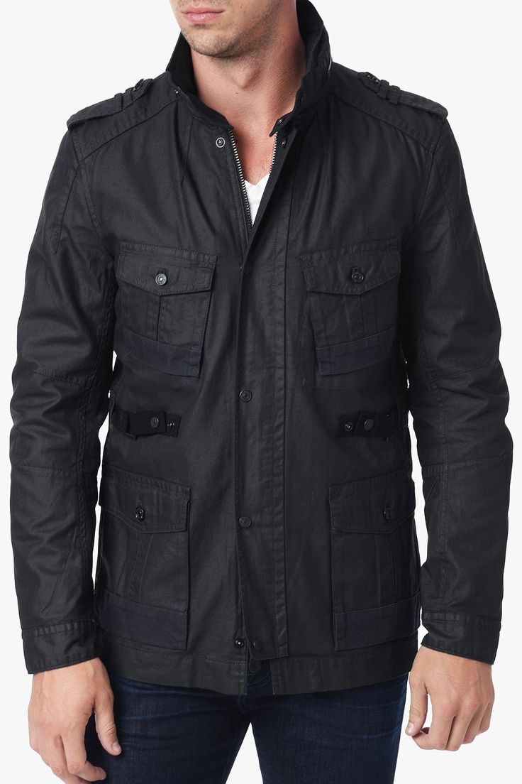 7 For All Mankind | COATED WAX FIELD JACKET IN JET BLACK #7forallmankind #jacket
