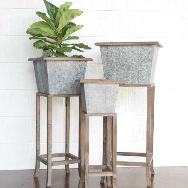 Square Rustic Planter, Set of 3