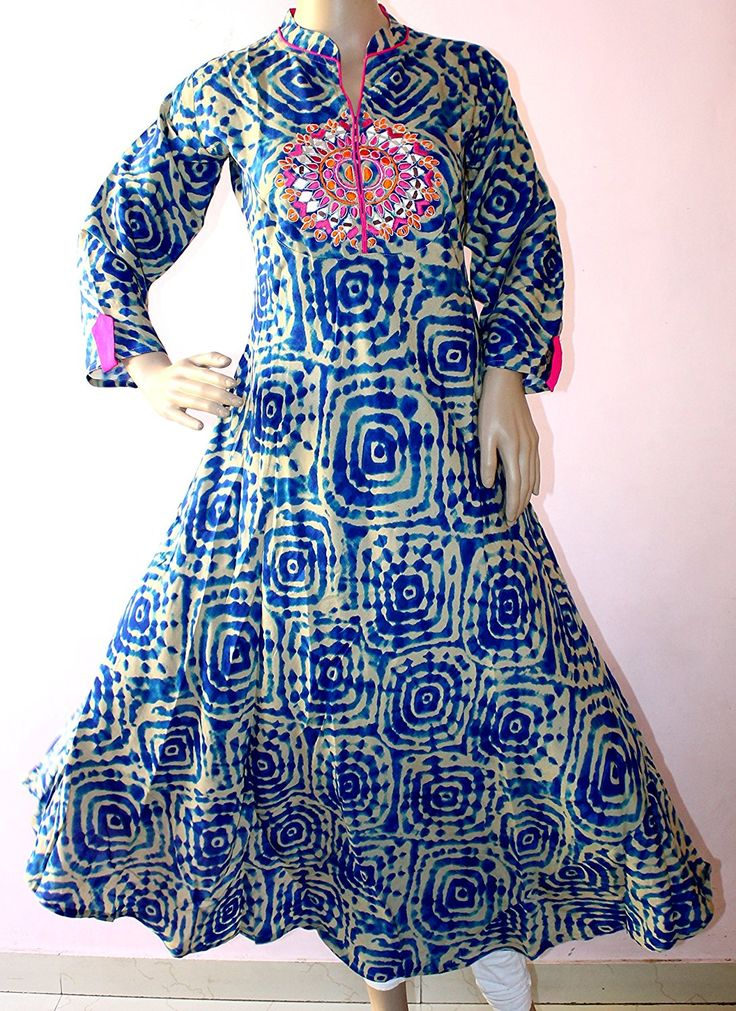 Cotton Kurta  Material : Cotton Colour : Blue Coloured Banded collar, 3/4 Sleeve Designer Printed Casual Kurta For Women Washcare:- Dry Clean OR Normal Hand wash