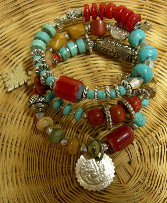 3 Layer Wrap Bracelet  Turquoise and Carnelian by Vintagearts