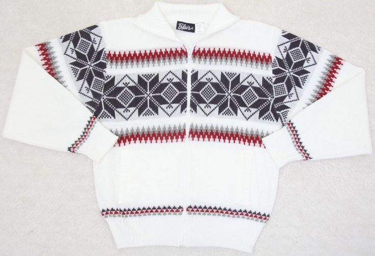Sweater Large Blair White WoMens Choice Long Sleeve Acrylic Full Zip Holiday #Blair #FullZip #AnyAll