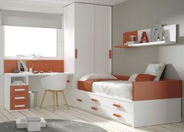 Kids Touch 16 #Habitación juvenil: #Cama compacta con cajones, con #escritorio, estanterías y armario. http://www.ros1.com/es/producto/kids-touch-16-habitacin-juvenil