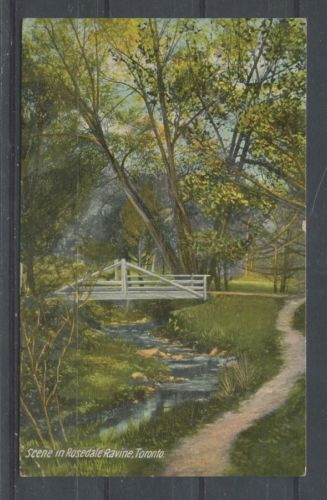 1912 multicolour postcard depicting the Rosedale ravine in Toronto, which looks much the same today as it did 104 years ago.