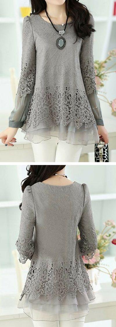 Layered Long Sleeve Lace Panel Grey Blouse.