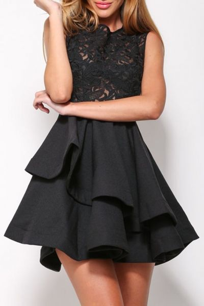 Black Romance Lace Asymmetric Hem Skater Dress
