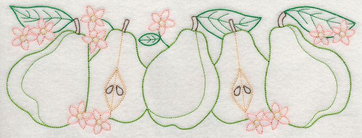 Pear Delight Border (Vintage) design (J4462) from www.Emblibrary.com