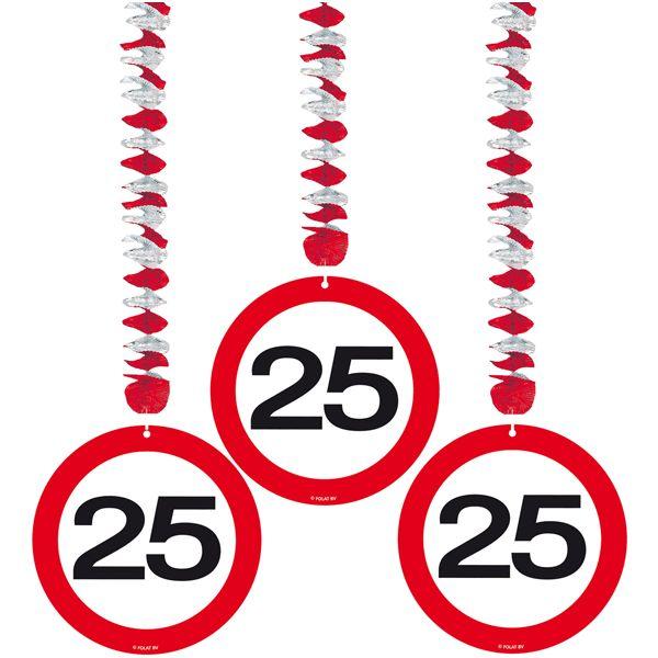 Rotorspiralen 25 jaar verkeersborden 3 stuks. Feestelijke decoratie voor een 25e verjaardag of jubileum. U ontvangt drie stuks van deze stopbord rotorspiralen.