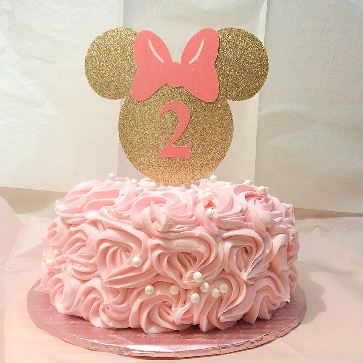 Gold and pink Minnie Mouse cake topper-Minnie mouse- gold glitter-smash cake- photo prop- birthday cake- 3-5 business days before is shipped by ToribelleDesignss on Etsy