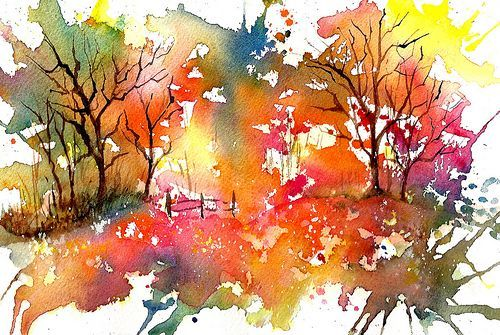 I'm not normally a huge watercolour fan because they can seem pale and watery compared with oils or acrylics - but this is so amazingly colourful and atmospheric  Watercolour Autumn.: