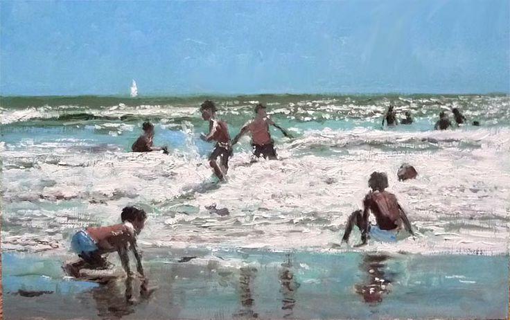 Cuadro al óleo de unos niños jugando en la playa.: