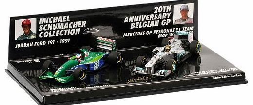 Minichamps Michael Schumacher 20th Anniversary Belgian GP 2 Car Set - Includes Jordan 191 1991 and Mercedes W02 Mercedes Petronas W02 and Jordan 191 (20th Anniversary Two Car Set) (1:43 scale by Minichamps 412912011)This Mercedes Petronas W02 and Jordan 191 (Michael Schumacher) Di (Barcode EAN = 4012138115514) www.comparestorep...