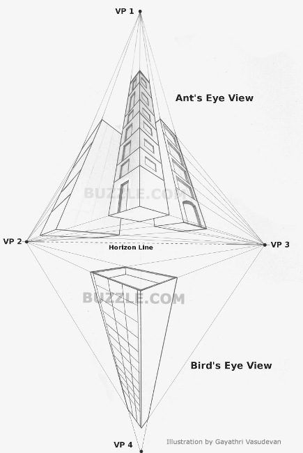 Perspective drawing examples with 1, 2, 3, 4, 5 point perspective. Very helpful.
