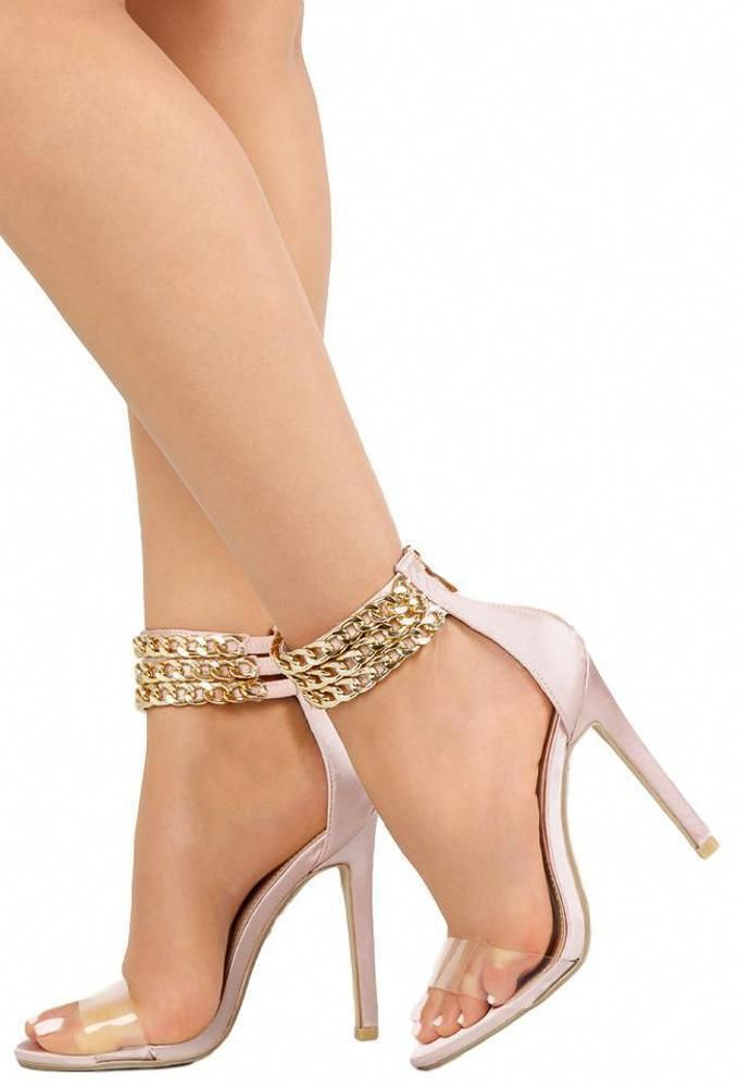 d0df88a4a8f3b4 RILEY172 BLUSH CLEAR OPEN TOE CHAIN ANKLE STILETTO HEEL  Stilettoheels