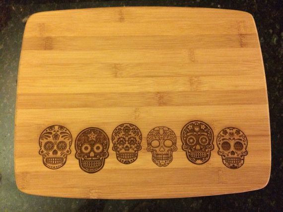 Day of the Dead Sugar Skull Cutting Board-6 in by HBEngravers