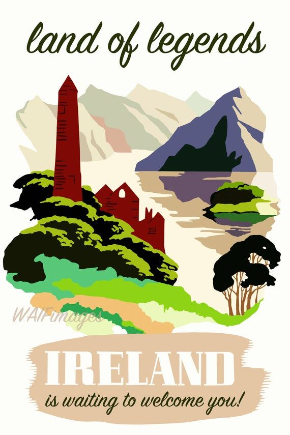 Ireland Land Of Legends Poster Based On A Mid Century Etsy Travel Posters 1950s Posters Ireland
