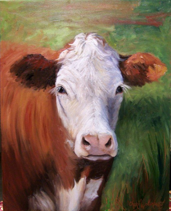 Pastoral Paintings with Cows | Cow Painting of Hazel Original Oil Painting by ChatterBoxArt