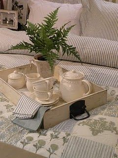 Use an old dresser drawer as a tray....beauteous!