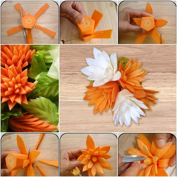 How to DIY Pretty Carrot Flowers for Dish Garnish tutorial and instruction. Follow us: www.facebook.com/fabartdiy