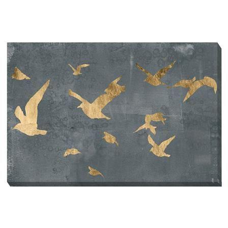 Gold Birds in Flight Canvas Print